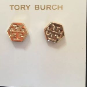 Brand New Tory Burch Logo Stud Earrings With Pouch